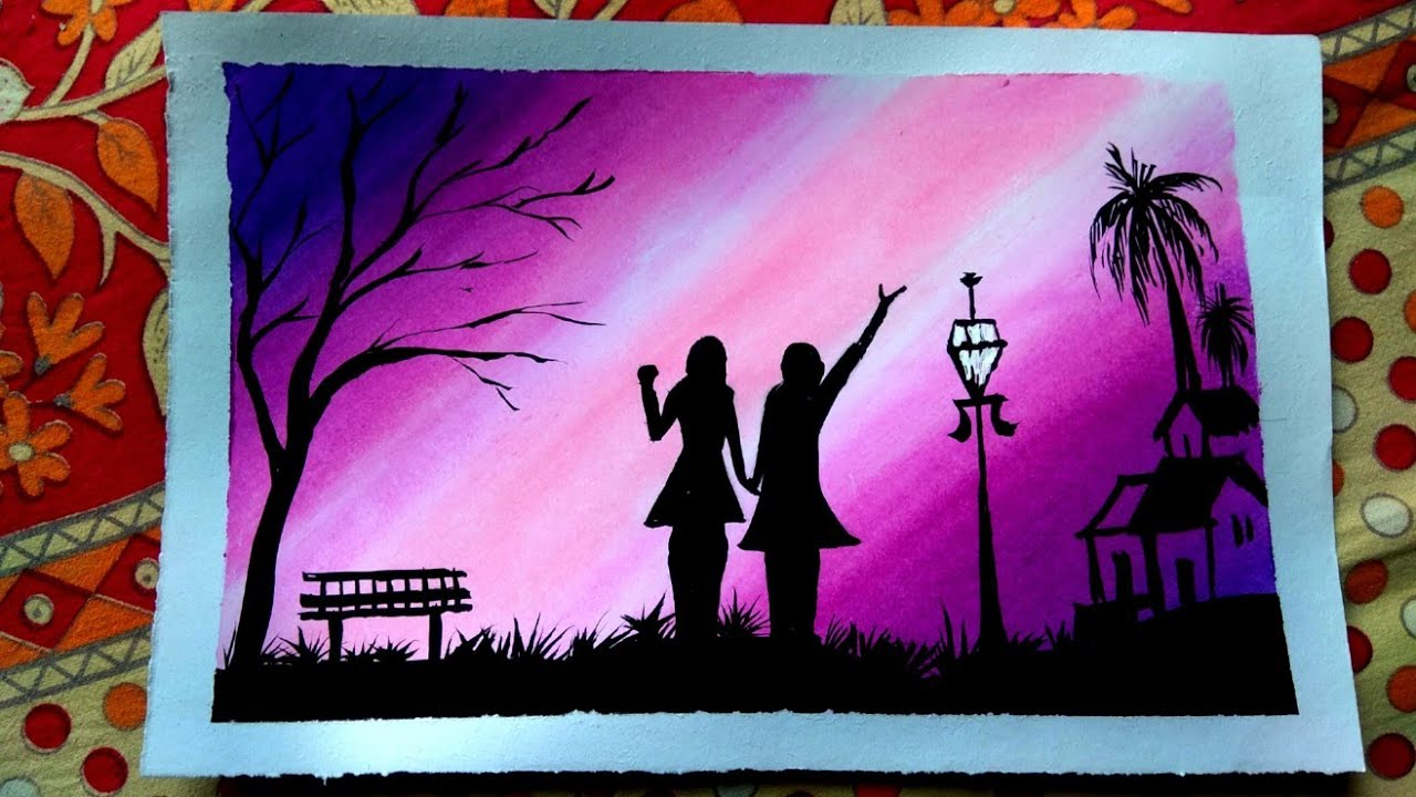 Best Friend Forever Oil Pastel Colour Painting Easy Steps Youtube