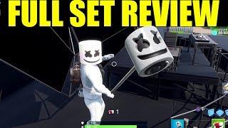 Fortnite - Marshmello Skin Full Set Review (Pickaxe, BACK BLING! & Emote)