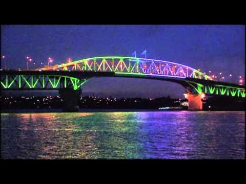 Testing the lighting on Auckland Harbour Bridge
