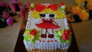 Торт для ДЕВОЧКИ Рецепт ПЫШНОГО бисквита с масляным кремом МК по украшению детского торта