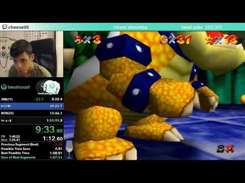 Super Mario 64 all 120 stars Non-Stop in 1hr 8m 10s (WR)