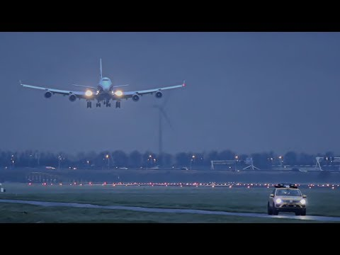 "AirBridgeCargo largest ""freight only"" Airline at Schiphol, BOEING 747 twilight landing."