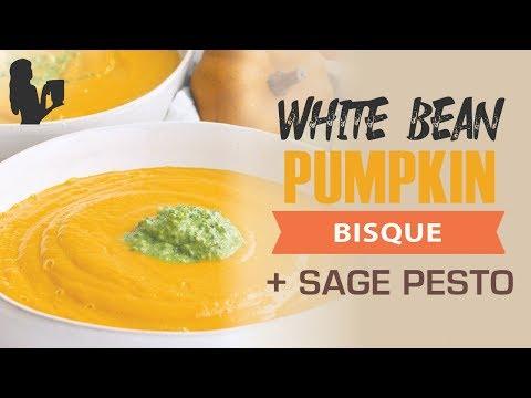 White Bean and Pumpkin Soup (Bisque) with Sage Pesto Vegan Option