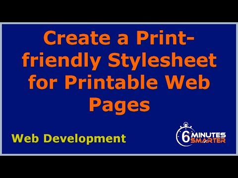 Create A Print-friendly Stylesheet For Printable Web Pages
