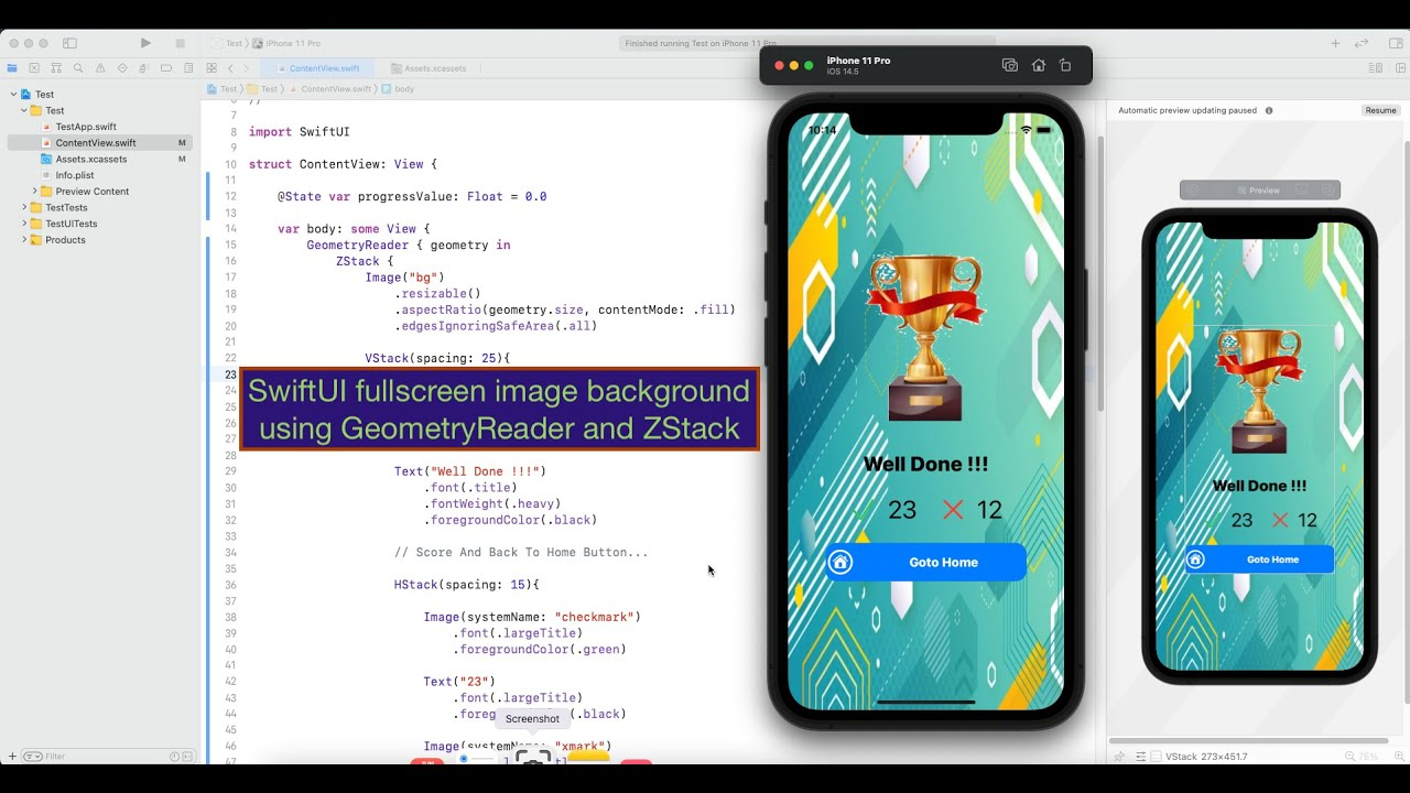 SwiftUI Fullscreen Image Background using GeometryReader and ZStack