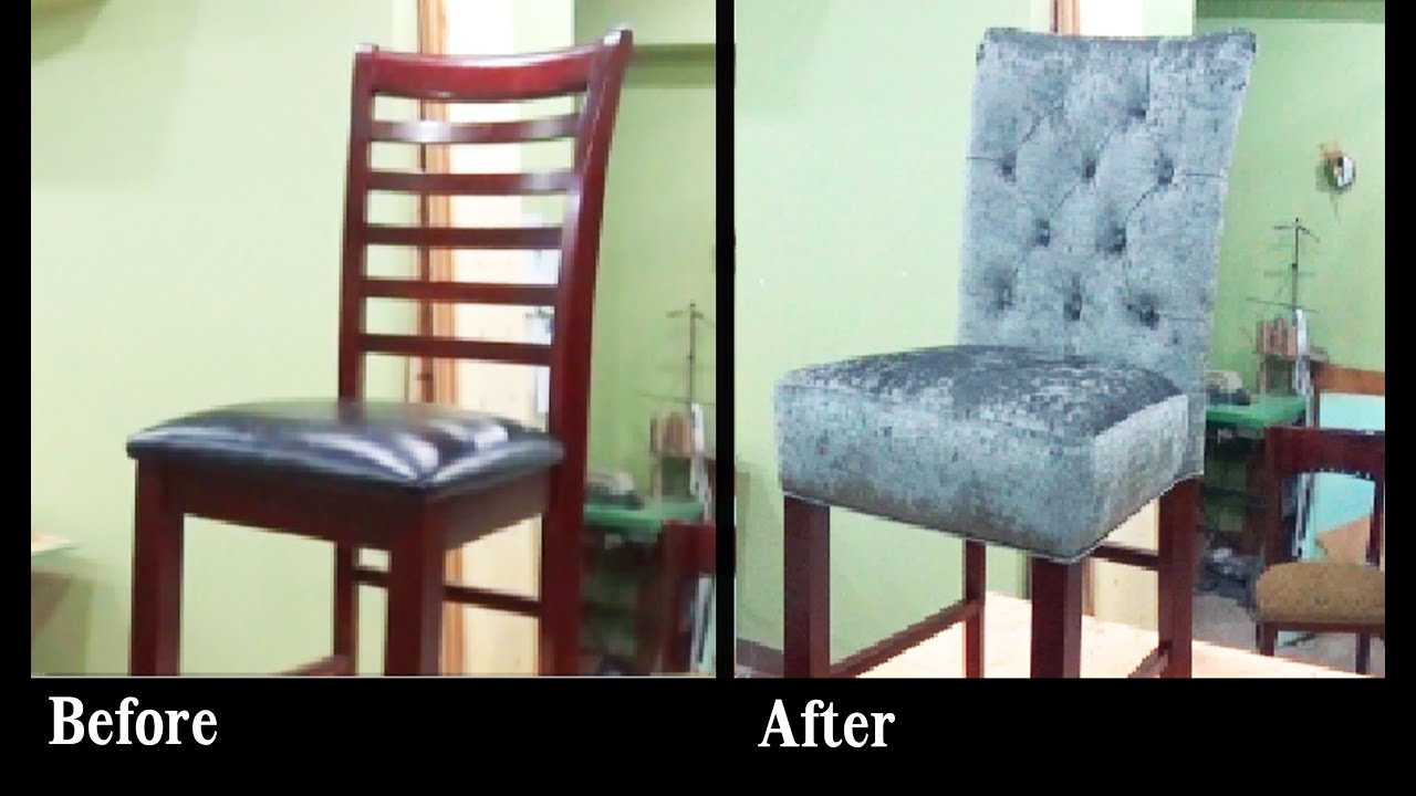 reupholster a chair with leather small papasan how to bar stool built in seat