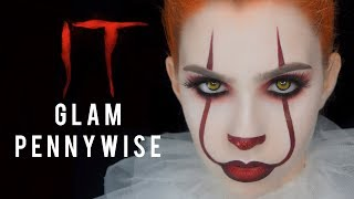 IT - GLAM GIRL PENNYWISE HALLOWEEN MAKEUP | 2017