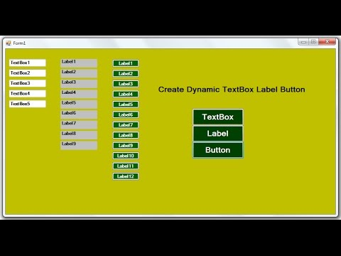 C# Code For Create Dynamic TextBox,Label and Button in Dot NET