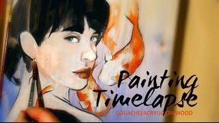 Gouache/Acrylic on Pine Wood- Painting Timelapse