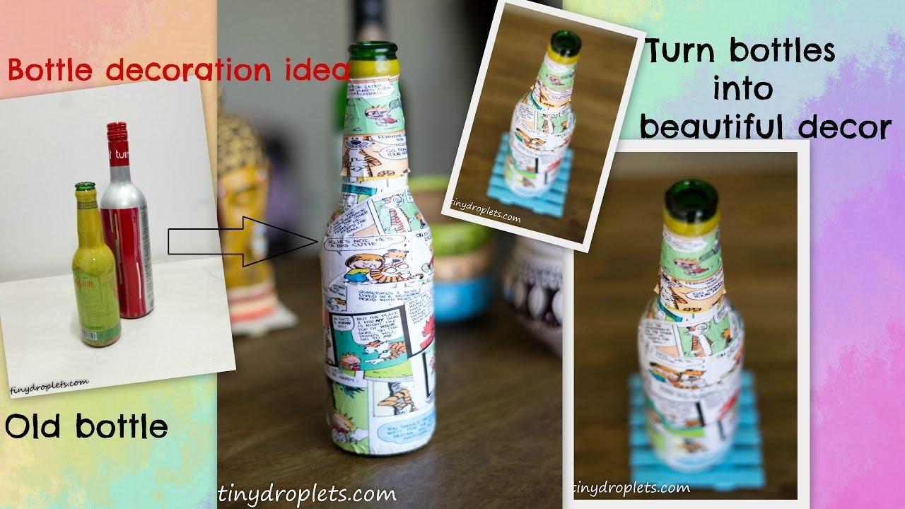 Diy Bottle Decoration Modpodge Bottle Bottle Design Using