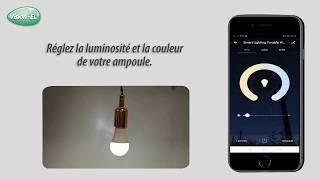 Vidéo: Ampoule LED connectée WIFI dimmable RGB+Blanc CCT 2700K-6500K GU10 5W Vision Pro