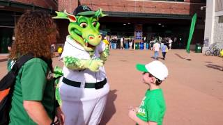 Dayton Dragons mascot signs with deaf boy