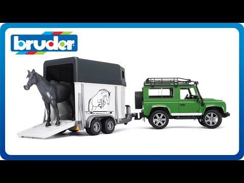 Bruder Toys Land Rover Defender with Horse Trailer & Horse #02592