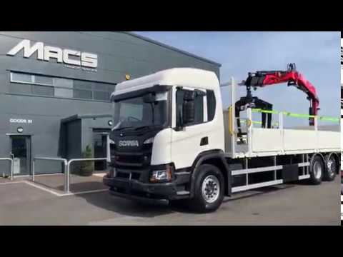 Scania (2019) P320 6 x 2 FASSI F155A2.22 with Brick Grab Crane Mounted Rigid Flatbed