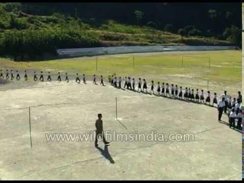 Students do exercise at Kendriya Vidyalaya in Chamera in Himachal Pradesh
