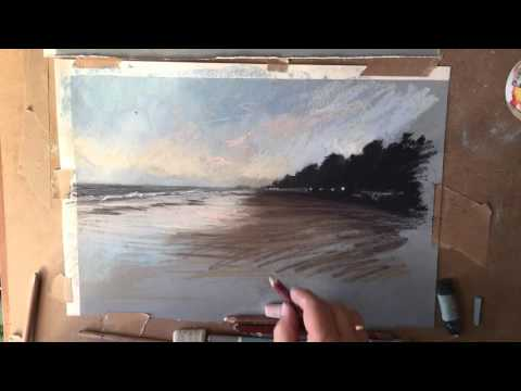 Pastel painting of Sandbanks, time lapse video
