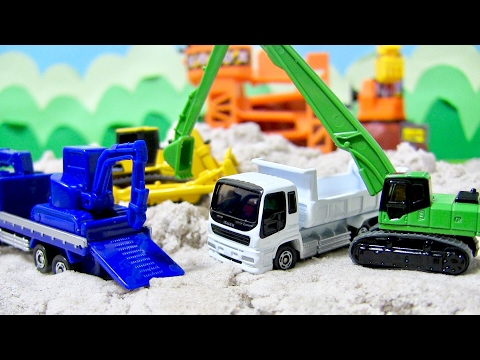 はたらくくるま トミカ 建設車両5 ダンプカー ブルドーザー ショベルカー 重機運搬車 開封紹介