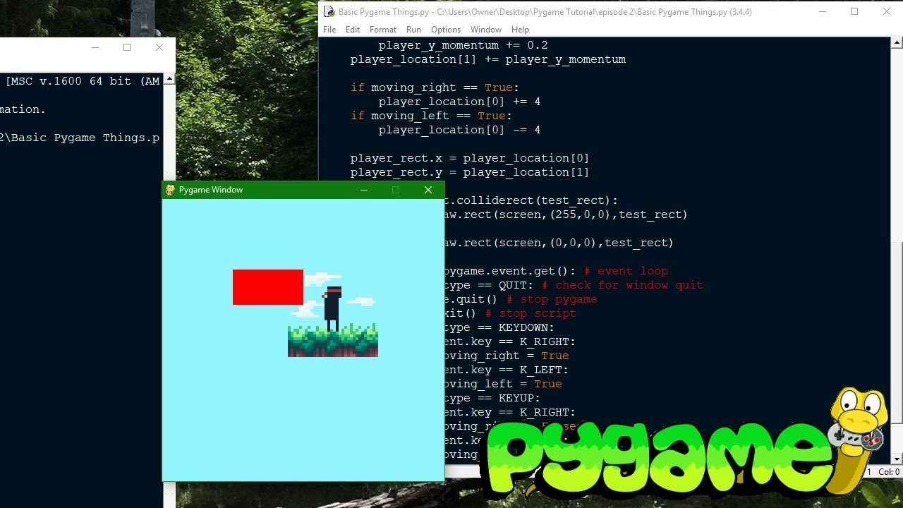 Pygame Tutorial - Making a Platformer ep. 2: Images, Input, and Collisions  - YouTube