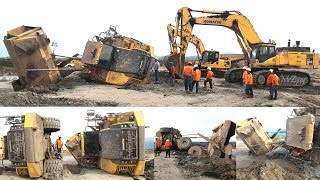Articulated Dump Truck Stuck Recovery By Excavator Komatsu PC800SE
