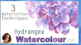3 of my Favourite Watercolour Techniques // Realistic Watercolour Hydrangea