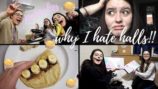 LONG UNI VLOG   Why I HATE living in halls, making pancakes & unboxing my mail!!