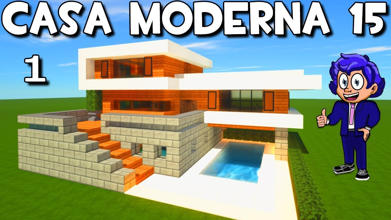 Casa moderna 15 con piscina en minecraft house tour y for Casa moderna 5 mirote y blancana