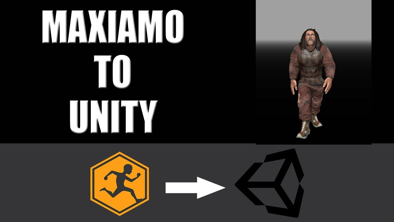 How to export maxiamo character to unity 3d with animations and use own character as third person