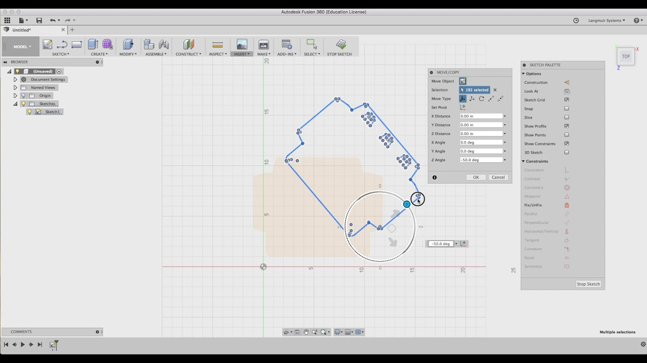 Fusion 360 Tutorial: Sketch Move, Copy, and Scale