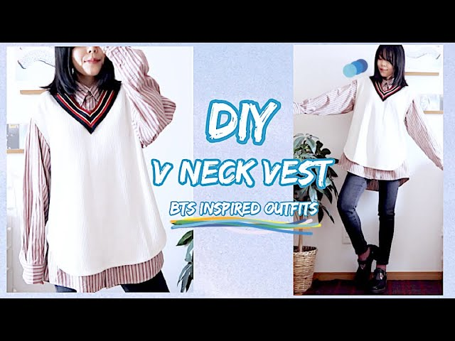 Refashion DIY V Neck Vest / BTS Inspired Outfits / MENS CLOTHES / ファッション / 옷만들기 / COSTURAㅣmadebyaya