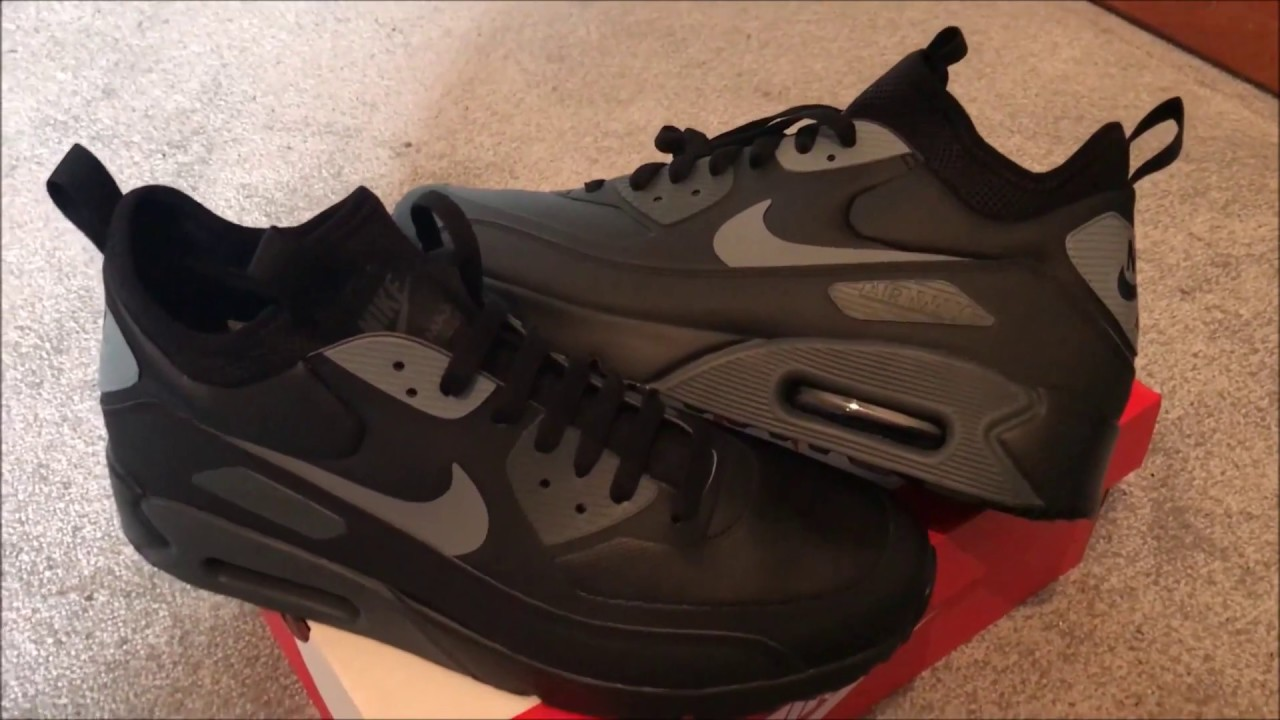 c45dd50b7b Nike Air Max 90 Ultra Mid Winter Black/Cool Grey Anthracte trainers  Sneakers/Unboxing