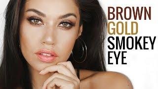 Brown Gold Smokey Eye | Easy Smokey Eye Makeup Tutorial Using One Eyeshadow | Eman