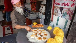 Indian Street Food - FAMOUS BASKET CHAAT Katori Chaat Lucknow India