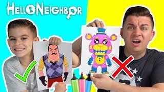 3 MARKER CHALLENGE!!! Hello Neighbor Edition