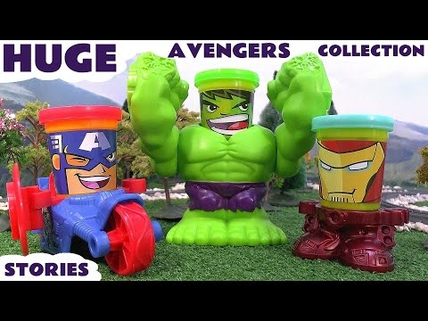 Marvel's Avengers Huge Play Doh Thomas The Tank Engine Surprise Eggs Collection Iron Man Hulk Thor
