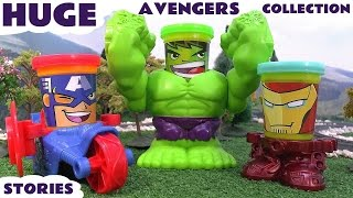 marvel s avengers huge play doh thomas the tank engine surprise eggs collection iron man hulk thor