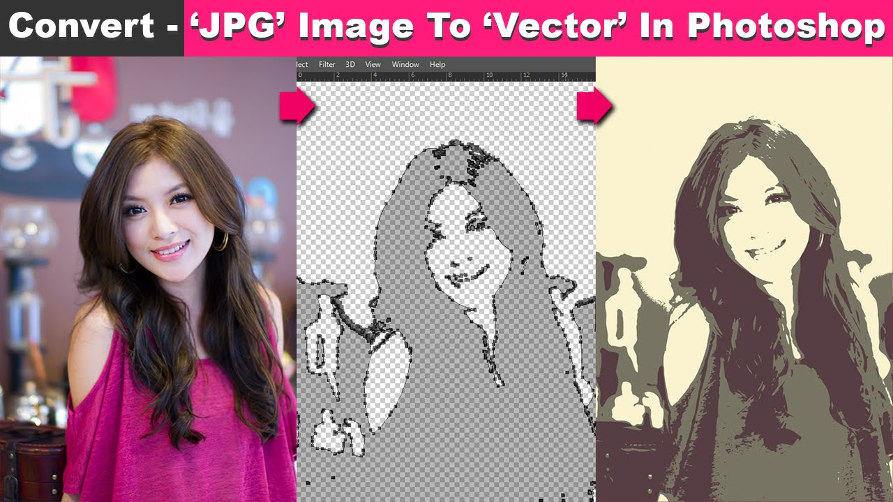 Vector Line Art Converter : Convert jpg image to vector in photoshop cc tutorial youtube