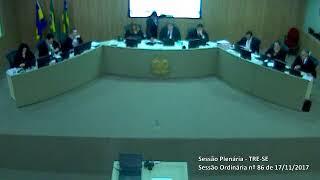 Sessão Ordinária nº 86/2017. Ultima sessão finalizando o biênio do Juiz Francisco Alves Junior.