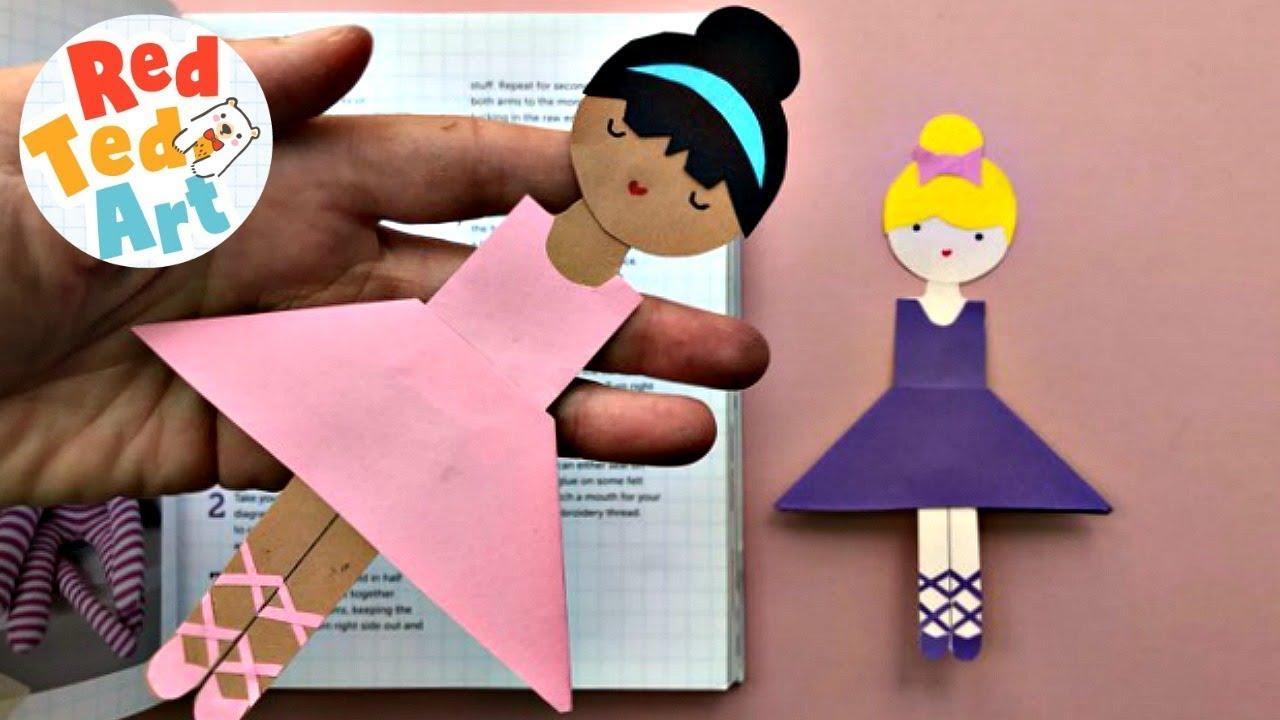 Ballerina Corner Bookmark Design Easy Paper Ballerina Bookmark