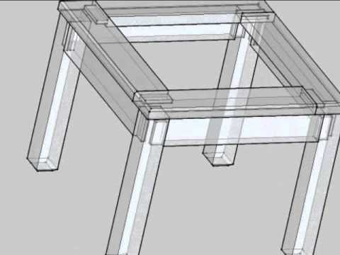 dessin industriel table basse assemblages tenon et mortaise youtube. Black Bedroom Furniture Sets. Home Design Ideas