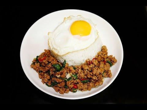 กระเพราหมูสับไข่ดาวราดข้าว - Stir-Fried Minced Pork with Basil, Fried Egg over Rice