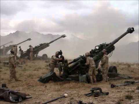 Four Canadian Artillery Guns Firing in Afghanistan