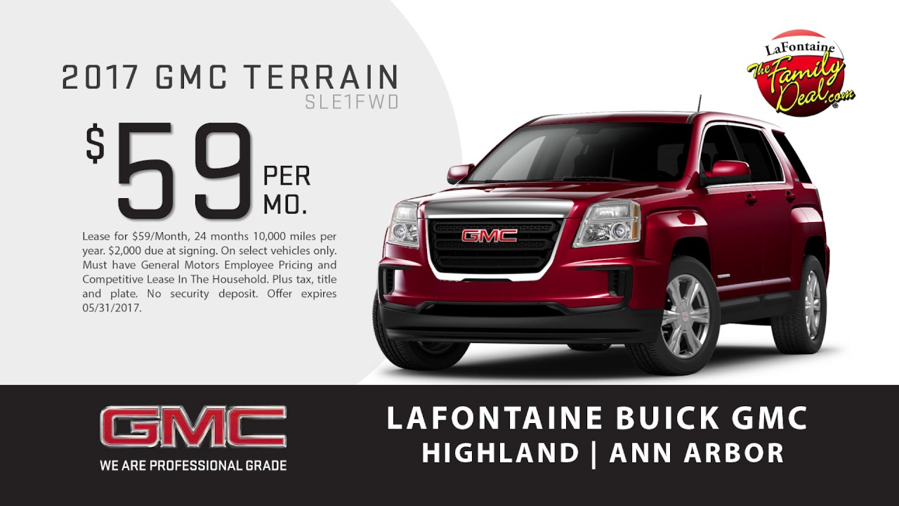 lafontaine buick gmc of ann arbor terrain lease special may 2017 youtube. Black Bedroom Furniture Sets. Home Design Ideas