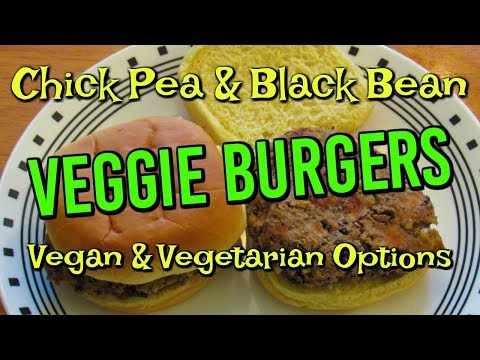 Chick Pea & Black Bean VEGGIE BURGERS In The Air Fryer!  Vegan & Vegetarian Options!
