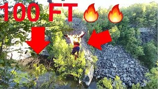 100 foot Cliff jump ON FIRE