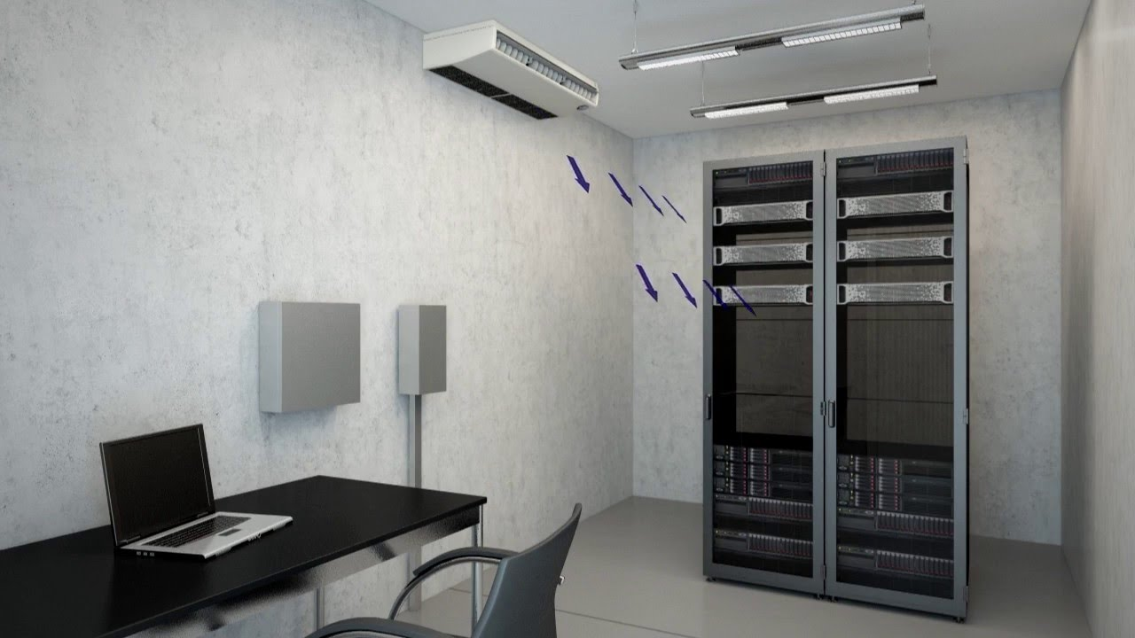 Under Ceiling Air Conditioner In A Server Room Animation
