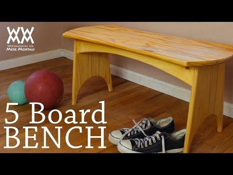 You can make this five-board bench in a weekend. Fun woodworking project!