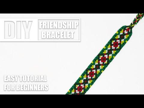 Christmas Diamonds Flower Macrame Friendship Bracelet | Easy Tutorial for Beginners thumbnail