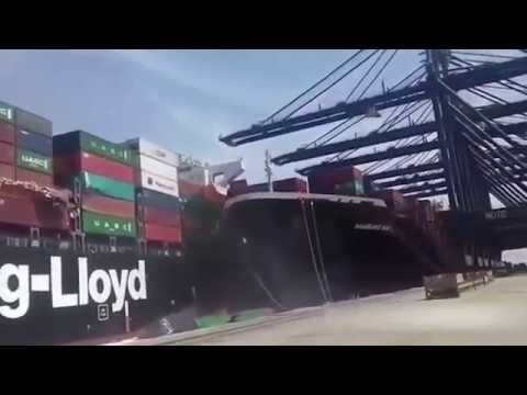 Moment two cargo ships collide in the Karachi port in Pakistan. (AP)