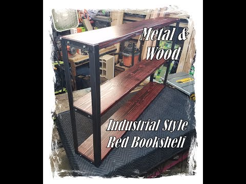 Industrial Style - Red Bookshelf - Metal and Wood
