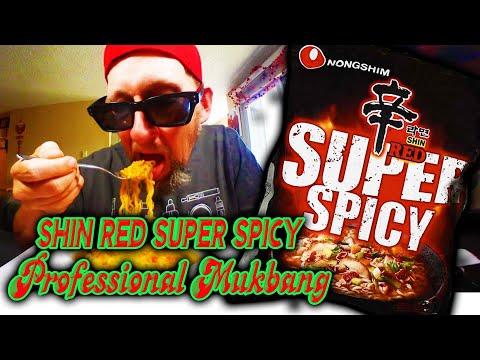 Nongshim Shin Red Super Spicy Ramen Noodles  Professional Mukbang